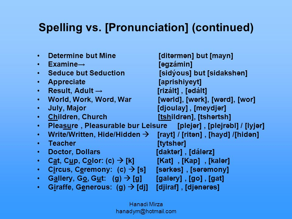 Spelling vs. [Pronunciation] (continued)